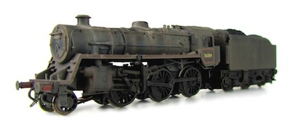 A 4MT heavily weathered to represent steams end of days. Other added details include a loco crew, renumbered, detailed buffer beam, etched depot and work plates and real coal added to tender.