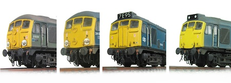 Photo above shows the different levels of conversion that can be taken out on a Farish class 24 from respraying the nose end yellow right through to a conversion to a 25/0.