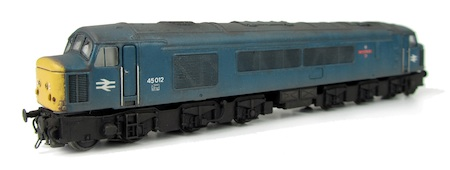 Class 45 showing a conversion to a plated-over headcode version. The loco has also had a full respray into BR blue as well as slimmed down bogies.