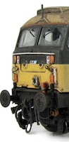 Class 47 showing detailed buffer beam and etched nose cables, even with a prototypical loop around the catch. On the nose you can also see the original plastic moulded hand rails replaced with wire versions including the pommels. Windows have also been worked on to show where the wiper blades keep the windows clean.