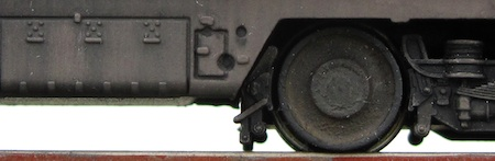 A close-up of a class 42 bogie and underframe.