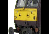 A picture of 47787 Full respray into West Coast Railways livery and converted to a cutaway buffer beam. Details include battery box modification, foot tread plates below doors, finer ariels, paint peeling on handrails, body lowered, etched fan and grills, renumbered, detailed buffer beam at one end, moulded nose handrails replaced with wire including pommels and nose catch added.