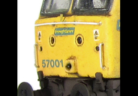 A picture of 57001 converted to a flush fronted headcode at one end with moulded roof grill replaced with etched fan and grill, renumbered, driver, moulded front handrails replaced with wire including pommels, body lowered, detailed battery box, etched nameplates, detailed buffer beam at one end, semi detailed buffer beam at coupling end and finer ariel.