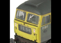 A picture of D1517 showing a partial respray into full yellow ends. Other details include: semi detailed buffer beam at both ends, moulded nose handrails replaced with wire, headcode changed, renumbered, moulded roof grills replaced with etched fan and grill, etched work plates, body lowered and nose catch added