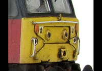 A picture of 47784 showing a partial respray to RES livery. Base model has been converted to a cutaway buffer beam example with modified battery box. Other details include: detailed buffer beam at one end and semi detailed at coupling end, moulded nose handrails replaced with wire, renumbered, driver fitted, etched nameplates, mu cables added, body lowered, finer ariels, moulded roof grills replaced with etched versions and nose catch added.