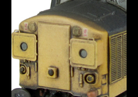 A picture of 37108 with semi respray to include cantrail, faded paint and blue roof. Other details include bogie modification to reduce gap between body and bogies, etched headcode surrounds, etched air horn covers, aerial removed, speedo cable added, moulded roof grill replaced with etched fan and grill, renumbered, detailed buffer beam at one end and etched nameplates.