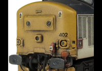 A picture of 37402 with respray into different shaded RF livery. Other details include bogie modification to reduce gap between body and bogies, bracket on nose, moulded roof grill replaced with 3D etched fan and grill, finer aerial, speedo cable added, rectangular buffers, driver, renumbered, detailed buffer beam at one end with semi detailed at coupling end, etched nameplates and snowploughs.