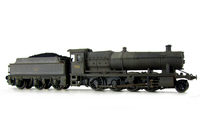 A picture of 3832 heavily weathered. Added details include: molded coal replaced with real coal, loco crew added, etched depot plaques/work plates, crest on tender changed to later version, buffer beam squared off and detail added.