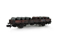 A picture of SPA wagon heavilly weathered with special effects of rust and flaking paint with load added.