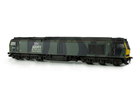 A picture of 60033 Full respray into army fantasy camouflage livery with lowered body, renumbered, detailed buffer beam at one end and driver fitted.