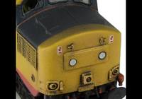A picture of 37160 with modification of nose ends to extra cutaway version and full respray to Railfreight red stripe.Other details include: boiler access panel and steps plated over, bogie modification to reduce gap between body and bogies, nose catches, snowploughs, renumbered, aerials removed and semi detailed buffer beam at both ends.
