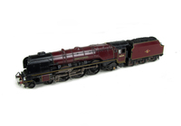 A picture of 46229 in preserved condition with added details including: moulded coal replaced with real coal, lamps, etched depot plaques and work plates, bogies changed to longer version and detailed buffer beam at one end.