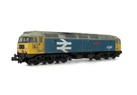 A picture of 47546 with full respray to Large Logo Blue and shown on a lowered chassis. Details include: etched nameplates, aerials removed and smoothed over, renumbered, semi detailed buffer beam at both ends, moulded nose handrails replaced with wire including pommels and nose catch added.