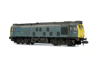 A picture of D5142 Full respray to a very faded and battered BR Green with grill cover in blue. Conversion to a headcode box version with converted nose end, battery box modification with shorter tank, semi detailed buffer beam at both ends, renumbered, etched 3D roof grill with fan and speedo cable added.