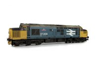 A picture of 37209 Full respray to Large Logo livery with bogie modification to reduce gap between body and bogies, black headcodes, catches added to nose, boiler port and steps plated over, frost grill, snowploughs, speedo cable added, moulded roof grill replaced with etched fan and grill, renumbered, vinyl nameplates, detailed buffer beam at one end and semi detailed buffer beam at coupling end.