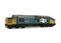 A picture of 37114 Semi respray into Large Logo livery. Other details include: body modifications including plated over boiler ports, detailed buffer beam and semi detailed at coupling end, aerials removed with headlight added, nose end converted to end door version with etched air horns and headcode surrounds, moulded roof grill replaced with 5 part etched fan and grill, bogie mod to reduce gap between body and bogies, speedo cable added, driver, renumbered, snowploughs and etched nameplates added.