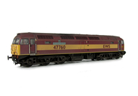 A picture of 47760 showing a full respray into EWS livery. Base model has been converted to a cutaway buffer beam example with etched kick plates. Other details include: detailed buffer beam at one end and semi detailed at coupling end, driver fitted, molded nose handrails replaced with wire, renumbered, mu cables added, etched nameplates/plaques, body lowered, finer aerials and nose catch added.
