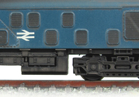A picture of 25002 conversion to a 25/0 from a Farish class 24 with headcode box added and battery box changed, plated over lights and body side steps. Detailed buffer beam at one end, driver fitted, renumbered and etched work plates.