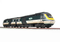 A picture of 43018/012 Dapol HST resprayed into GW Merlin Livery with plated over guard door and driver fitted.