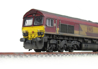 A picture of 66070 renumbered, detailed buffer beam at one end and front end handrails replaced with wire and pommels added.