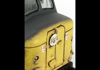 A picture of D6 with modified livery to full yellow ends and residue of grey body stripe still visible. Renumbered with faded body work, etched work plates and nameplates. slimmed down bogies, etched headcode discs (with one missing as per prototype), body side step holes plated over, detailed buffer beam and driver fitted.