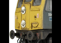 A picture of D5041 Resprayed nose ends into full yellow and white bodyside stripe taken off with detailed buffer beam at one end, driver fitted, renumbered, etched work plates, lime stain down body and slimmed down headcode discs.