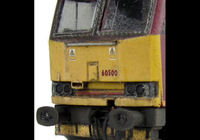 A picture of 60500 with faded body, detailed buffer beam at one end, yellow ploughs and chipped silver window surrounds, renumbered, etched nameplates/symbols and driver fitted.