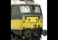 A picture of 47525 showing a very shabby loco based on prototype photos from the early 90's. Details include heavy fading and special effects of mottled peeling roof, detailed buffer beam at one end, moulded nose handrails replaced with wire including pommels, renumbered, driver fitted, finer ariels, battery box changed and nose catch added